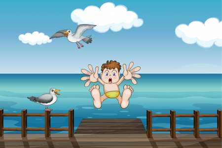 sky dive: Illustration of  a young boy who has a scary face  Illustration