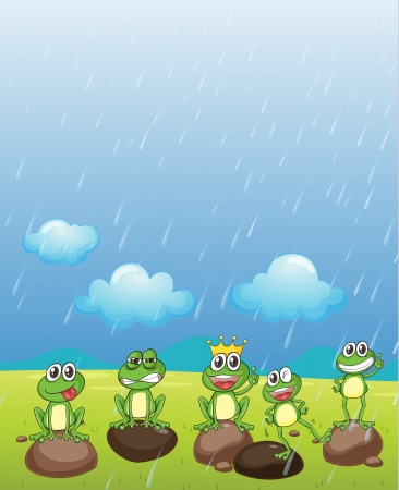 is raining: Illustration of a frog prince and his friends