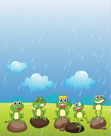 lloviendo: Ilustración de un príncipe rana y sus amigos