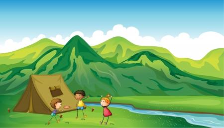 Illustratie van drie spelende kinderen in de buurt van een camping