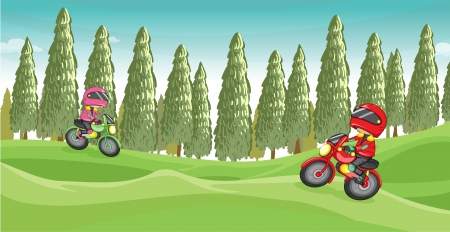 dirtbike: Illustration of a motorcycle race