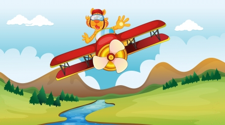 Illustration of a cat riding on a plane in amazing moves Stock Vector - 17358156