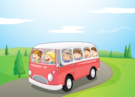 Illustration of little children riding in a bus Vector