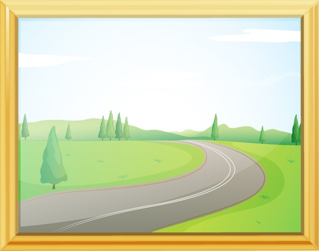 cartoon frame: Illustration of a frame of a road with a green view Illustration