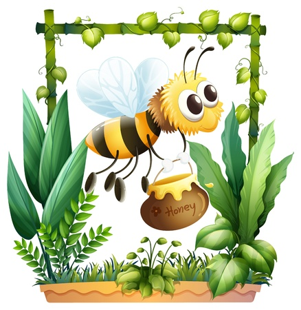 bamboo border: Illustration of a bee in the garden with a honey on a white background Illustration