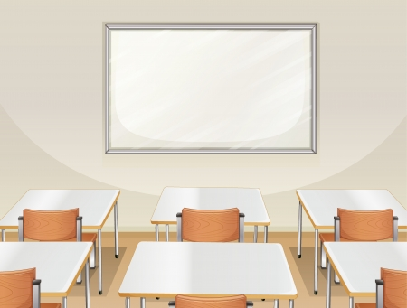 whiteboard: Illustration of an empty classroom with white board, tables and chairs Illustration