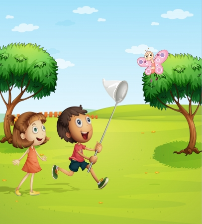 Illustration of kids trying to catch a butterfly in the garden Vector