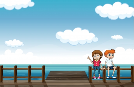 Illustration of a young girl and a boy chatting Vector