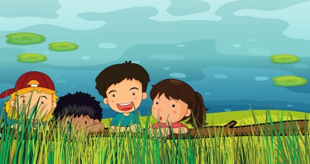 Illustration of children peeking in the grass Stock Vector - 17358101