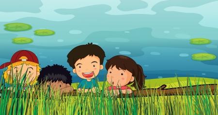 spying: Illustration of children peeking in the grass