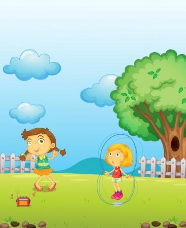 jumping fence: Ilustración de las niñas jugando en el patio de recreo