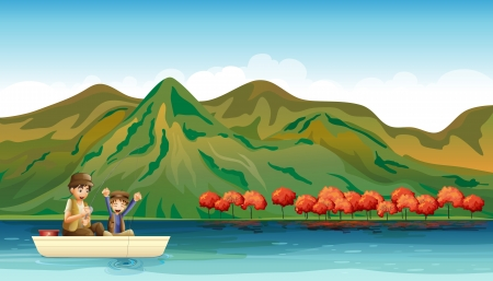 Illustration of two boys fishing along the mountain Vector