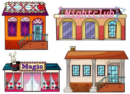 venue: Illustrazione di un luogo di intrattenimento su uno sfondo bianco