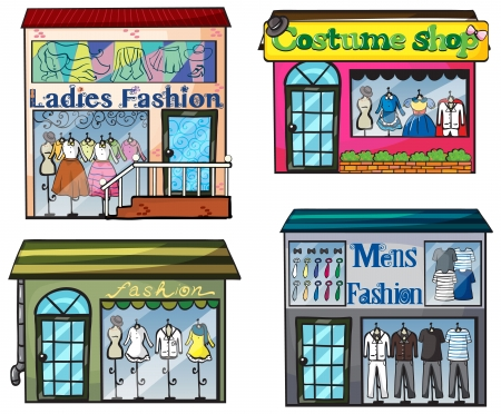 Illustration of a fashion shop on a white background Vector