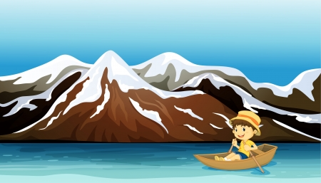 Illustration of a boy boating along the snowy mountain Vector