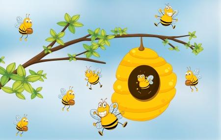 abeja caricatura: Ilustración de una abeja de la miel de un árbol Vectores