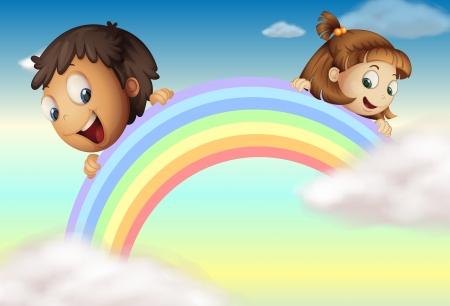 Illustration of children holding the rainbow Stock Vector - 17358202
