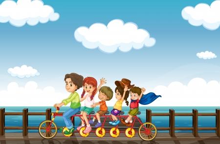 driewieler: Illustratie van een verbazingwekkende fiets die is bedoeld voor het veel mensen Stock Illustratie