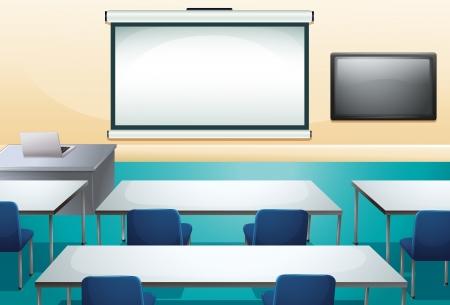 whiteboard: Illustratie van een schoon en georganiseerd klas Stock Illustratie