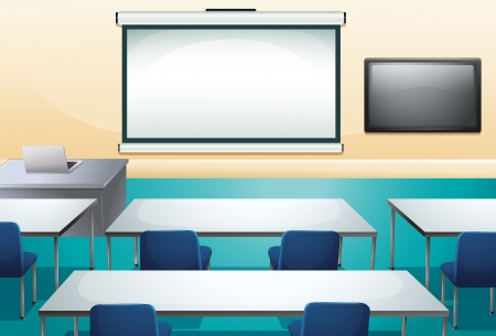 it technology: Illustration of a clean and organized classroom