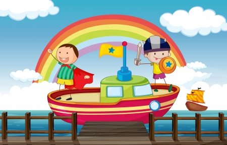 Illustration of kids playing happily in the ship Vector