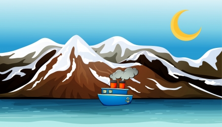 solemn land: Illustration of a blue ship near the mountain