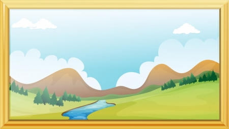 Illustration of a frame of a mountain view  Stock Vector - 17358127
