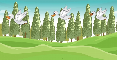 Illustration of three little swans flying Stock Vector - 17358164