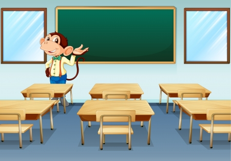 Illustration of a monkey teacher discussing in an empty room Vector