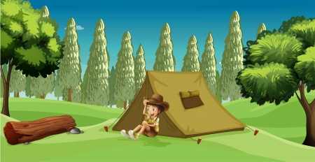Illustration of a girl scout camping in the middle of the forest Vector