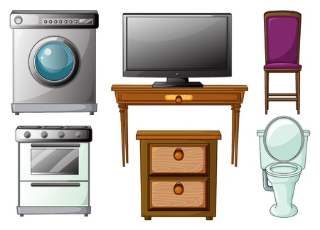 electric stove: Illustration of house appliances and furnitures on a white background