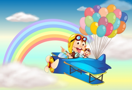 boastful: Illustration of two monkeys riding on a plane and a rainbow Illustration