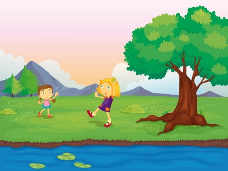 Illustration of two girls playing near the river  Vector