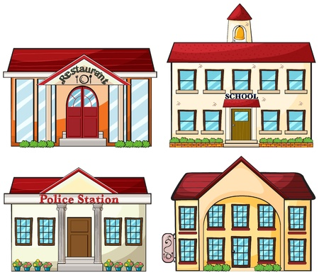 home school: Illustration of the useful buildings on a white background
