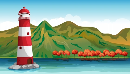 parola: Illustration of a parola built at the center of the ocean Illustration