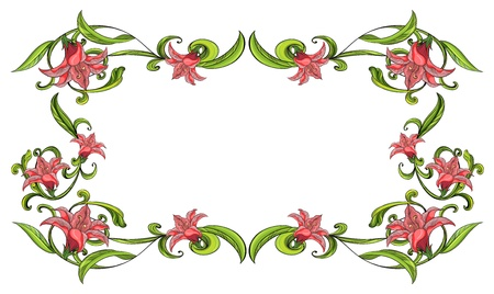 beautify: Illustration of a flowery border on a white background Illustration