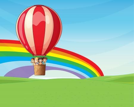 excitement: Иллюстрация из четырех маленьких детей, едущих на воздушном шаре с волнением