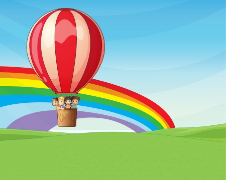 Illustration of four young children riding on a hot air balloon with excitement Vector