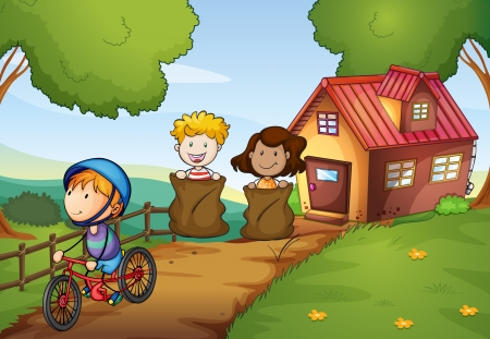 Illustration of a sack race between two young girls and a boy riding a bike
