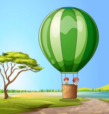 Illustration of a hot air balloon with two boys Vector