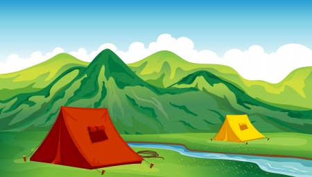 Illustration of a camping site near the river and mountain Vector