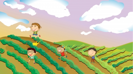 field glass: Illustration of four boys playing in the farm