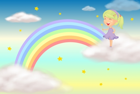 Illustration of a fairy near the rainbow  Vector