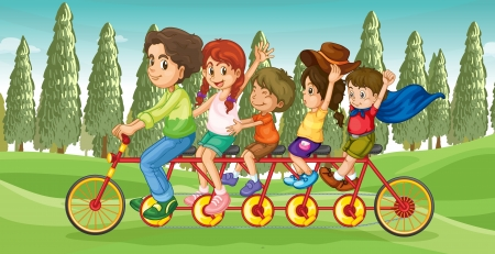 Illustration of an everybodys bike with children Vector