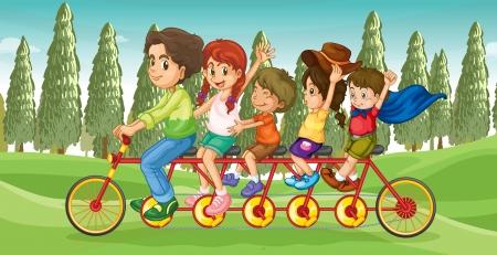 cicla: Ilustración de una bicicleta con los niños de todo el mundo