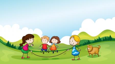 bimbi che giocano: Illustrazione di bambini che giocano salto con la corda Vettoriali