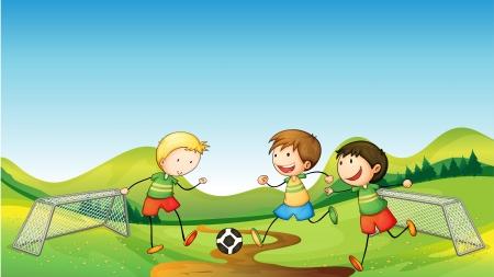 soccer net: Illustration of kids playing soccer