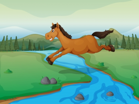 Illustration of a horse crossing the river and a mountain view Illustration