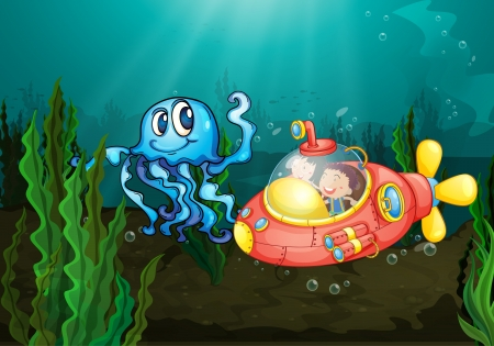 Illustration of kids exploring under the sea Vector