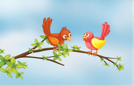 Illustration of a couple bird in a thin branch of tree Ilustrace